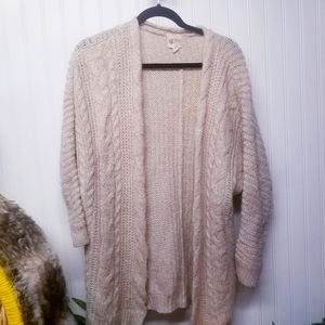 Pink Rose Sweater Caridgan Tan Size Medium